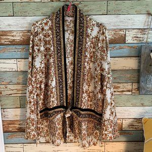 WILLOW&ROOT Mixed Print Tie-Front Blouse/Top Sz M